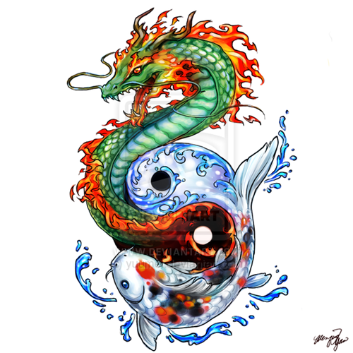 Dragon Koi tattoo commission. Dragon_Koi_tattoo_commission_by_yuumei