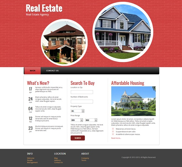 Real estate responsive website template real estate demo pronofoot35fo Image collections