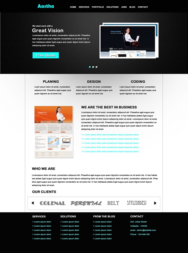 free psd website template aastha