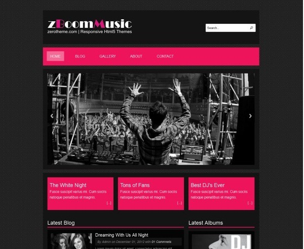 html5 template for music website