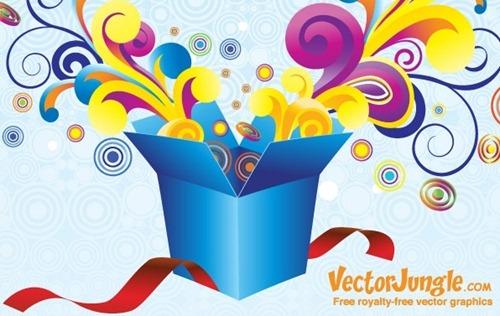 vector groovy gift box