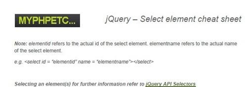 jquery select element cheat sheet