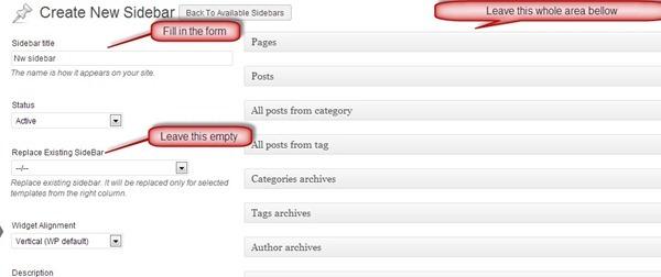 sidebar and widget manage