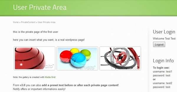 wordpress private area