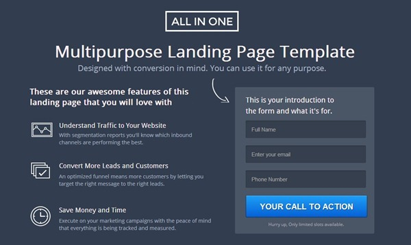 unbounce landing page template